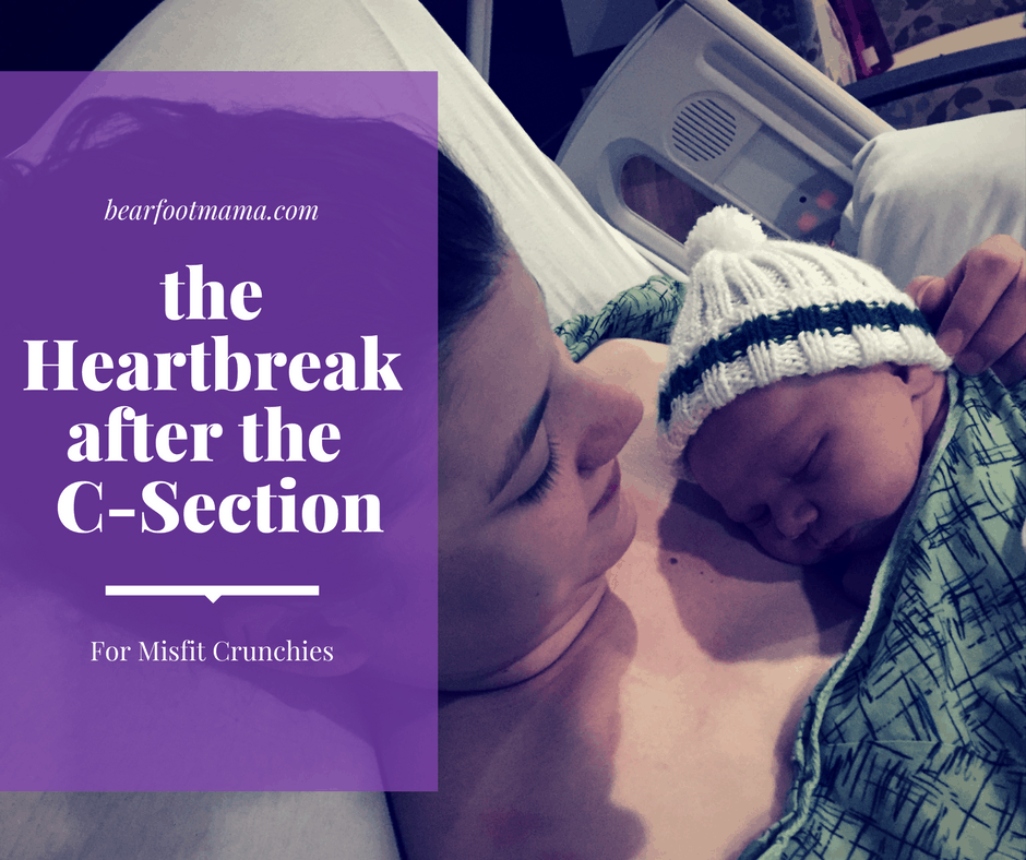 Mom with baby in shirt titled the Heartbreak after the C-Section: for Misfit Crunchies